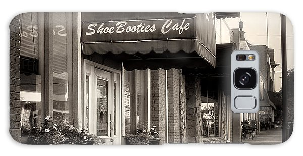 Sidewalk At Shoebooties Cafe In Black And White Galaxy Case