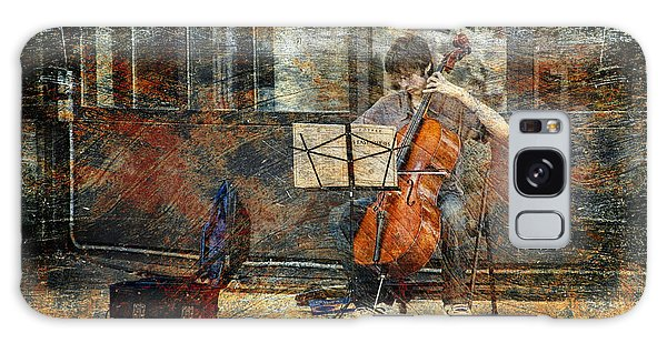 Sidewalk Cellist Galaxy Case