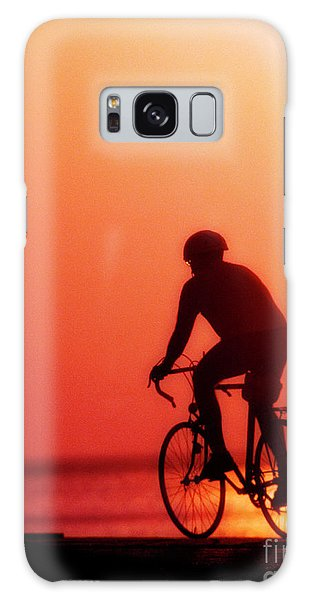 Silhouetted Bike Rider Sunrise Chicago Lake Front  Galaxy Case