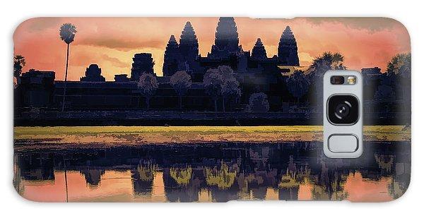 Silhouettes Angkor Wat Cambodia Mixed Media  Galaxy Case