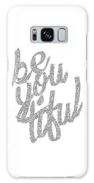 Silver 'beyoutiful' Typographic Poster Galaxy Case by Jaime Friedman