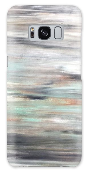 Silver Coast #25 Silver Teal Landscape Original Fine Art Acrylic On Canvas Galaxy Case