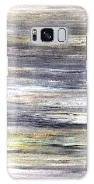 Silver Coast #26 Silver Teal Landscape Original Fine Art Acrylic On Canvas Galaxy Case