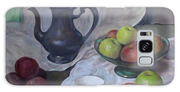 Silver Coffeepot, Apples And Fabric Galaxy Case