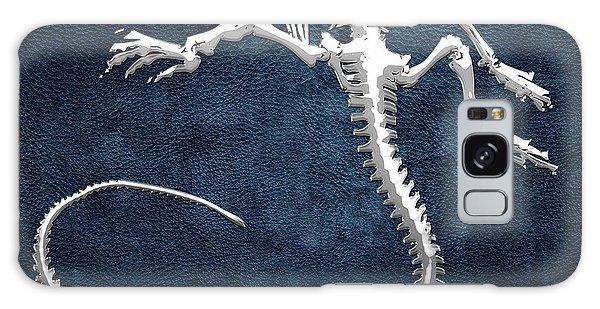 Design Galaxy Case - Silver Iguana Skeleton On Blue Silver Iguana Skeleton On Blue  by Serge Averbukh