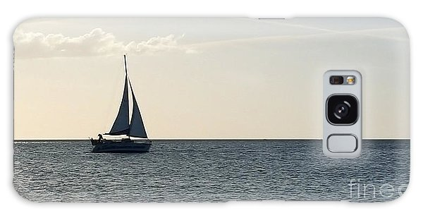 Silver Sailboat Galaxy Case by Jeanne Forsythe
