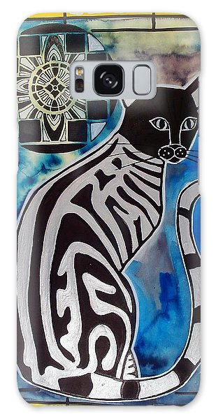 Silver Tabby With Mandala - Cat Art By Dora Hathazi Mendes Galaxy Case
