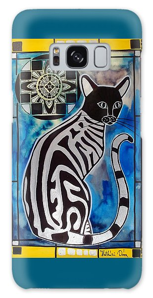 Silver Tabby With Mandala - Cat Art By Dora Hathazi Mendes Galaxy Case by Dora Hathazi Mendes