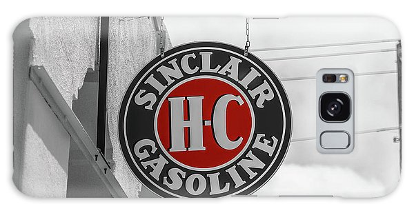 Galaxy Case featuring the photograph Sinclair Gasoline Round Sign In Selective Color by Doug Camara