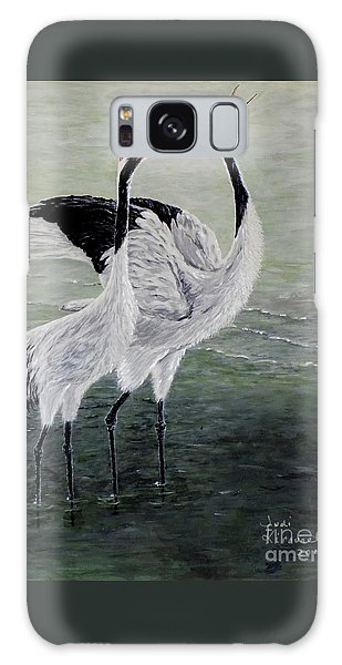 Singing Cranes Galaxy Case by Judy Kirouac
