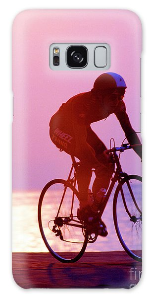 Single Bike Rider Chicago Lake Front Galaxy Case