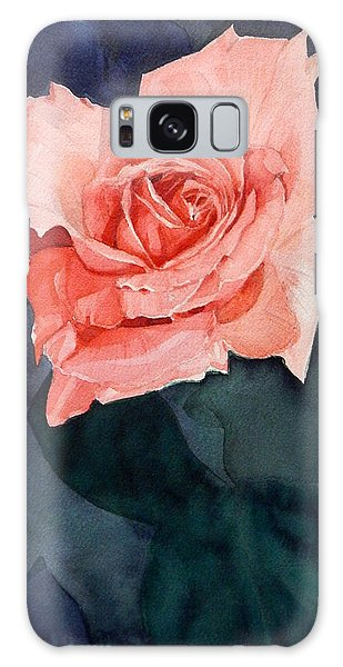 Watercolor Of A Magic Bright Single Red Rose Galaxy Case