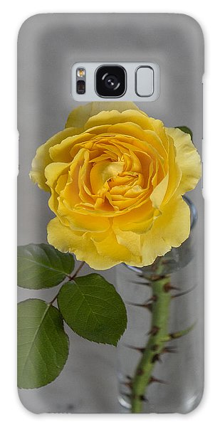 Single Yellow Rose With Thorns Galaxy Case
