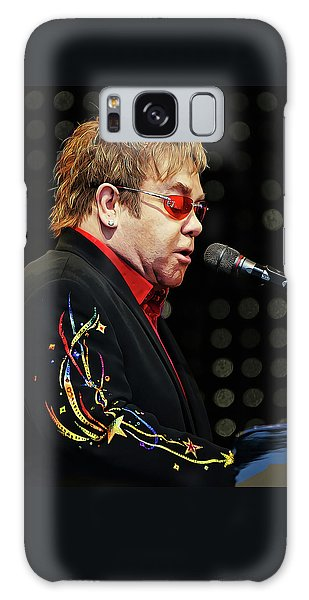 Sir Elton John At The Piano Galaxy Case by Elaine Plesser