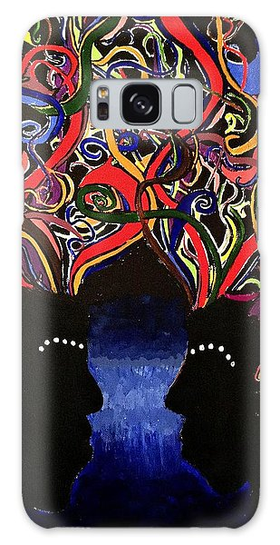 Sis The Twins - Abstract Silhouette Painting - Sisterhood - Abstract Painting  Galaxy Case