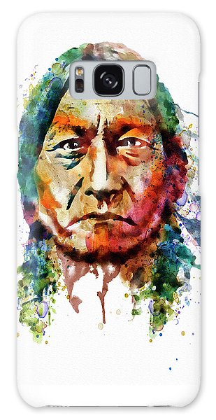 Sitting Bull Watercolor Painting Galaxy Case by Marian Voicu