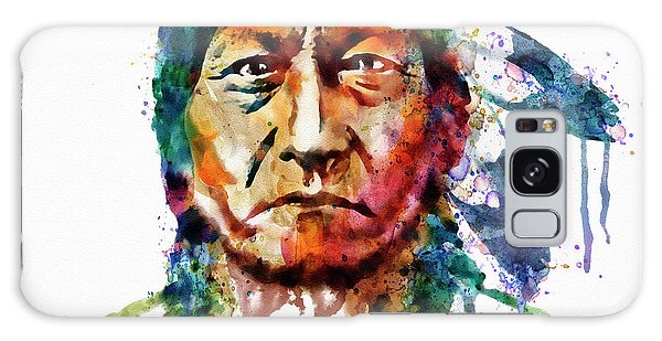 Indian Head Galaxy Case - Sitting Bull Watercolor Painting by Marian Voicu