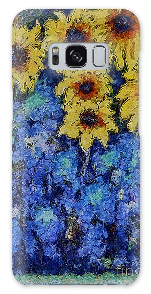 Six Sunflowers On Blue Galaxy Case