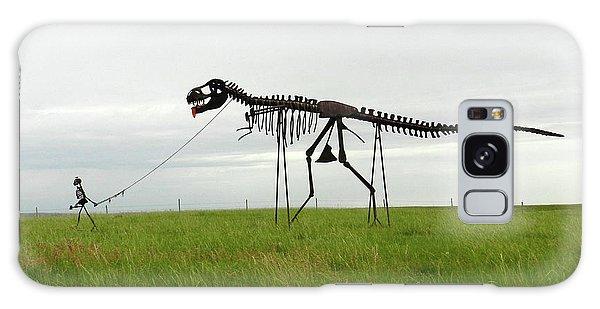 Skeletal Man Walking His Dinosaur Statue Galaxy Case