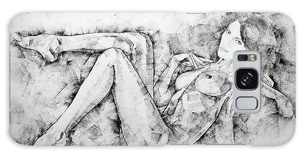 Sketchbook Page 46 Drawing Woman Classical Sitting Pose Galaxy Case