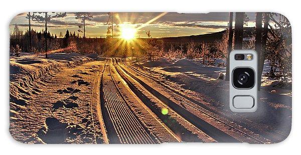 Ski Trails With Sun Beams Galaxy Case