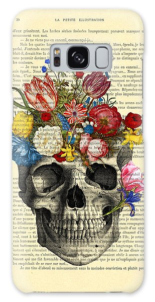 Halloween Galaxy Case - Skull With Flowers Vintage Illustration by Madame Memento