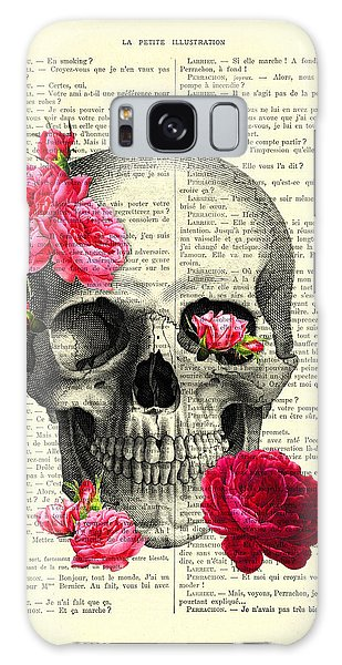 Halloween Galaxy Case - Skull And Pink Roses by Madame Memento