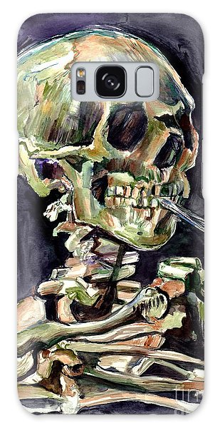 Skull Galaxy Case - Skull Of A Skeleton With Burning Cigarette by Suzann Sines