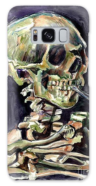Skulls Galaxy Case - Skull Of A Skeleton With Burning Cigarette by Suzann's Art