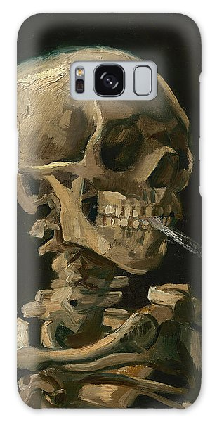 Halloween Galaxy Case - Skull Of A Skeleton With Burning Cigarette - Vincent Van Gogh by War Is Hell Store