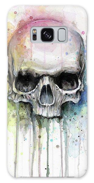 Skull Galaxy Case - Skull Watercolor Rainbow by Olga Shvartsur