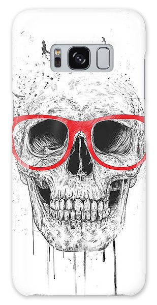 Glass Galaxy Case - Skull With Red Glasses by Balazs Solti