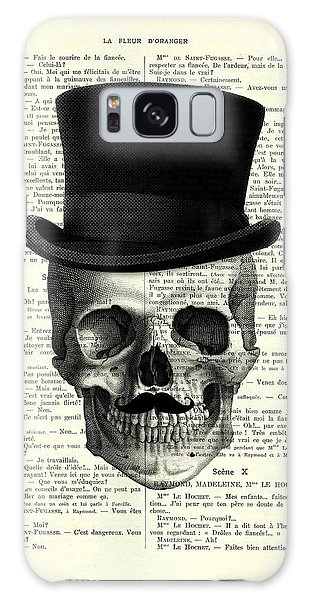 Halloween Galaxy Case - Skull With Top Hat And Moustache by Madame Memento