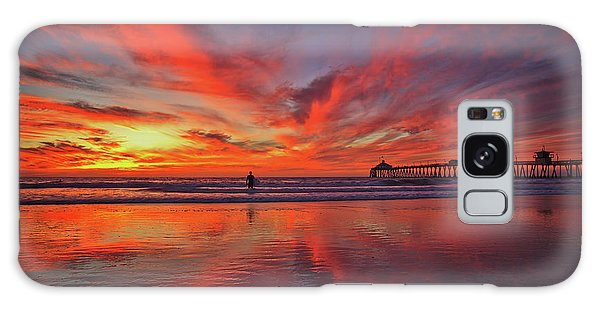 Sky On Fire At The Imperial Beach Pier Galaxy Case