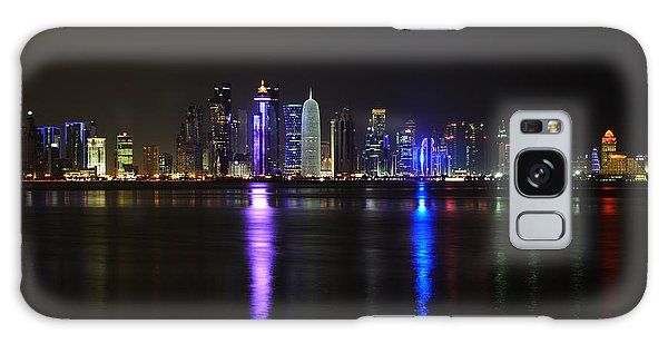 Skyline Of Doha, Qatar At Night Galaxy Case by IPics Photography