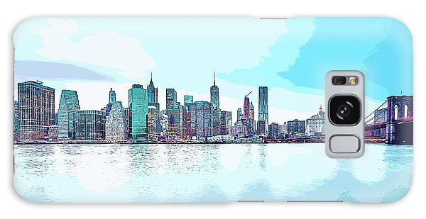 Skyline Of New York City, United States In Blues Galaxy Case