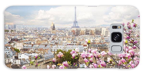 skyline of Paris with eiffel tower Galaxy Case