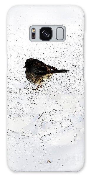 Small Bird On Snow Galaxy Case