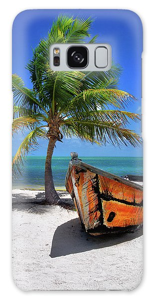 Small Boat And Palm Tree On White Sandy Beach In The Florida Keys Galaxy Case