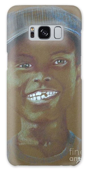 Small Boy, Big Grin -- Retro Portrait Of Black Boy Galaxy Case