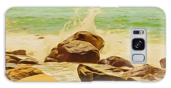 Small Ocean Waves,large Rocks. Galaxy Case