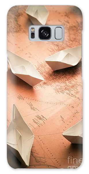 Navigation Galaxy Case - Small Paper Boats On Top Of Old Map by Jorgo Photography - Wall Art Gallery