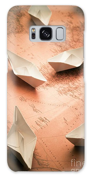 Shipping Galaxy Case - Small Paper Boats On Top Of Old Map by Jorgo Photography - Wall Art Gallery