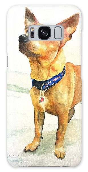 Watercolor Pet Portraits Galaxy Case - Small Short Hair Brown Dog by Carlin Blahnik CarlinArtWatercolor