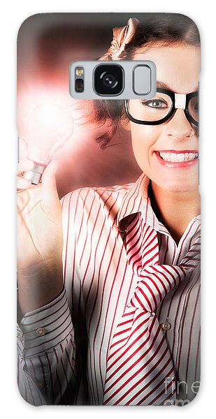 Vivacious Galaxy Case - Smart Business Person Holding Light Bulb In Hand by Jorgo Photography - Wall Art Gallery