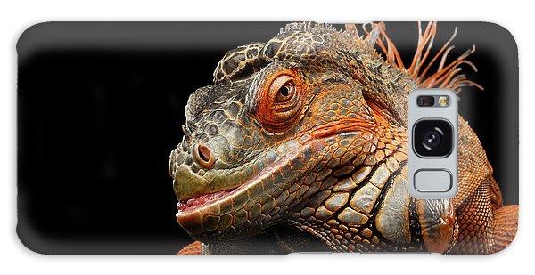 smiling Orange iguana isolated on black  Galaxy Case