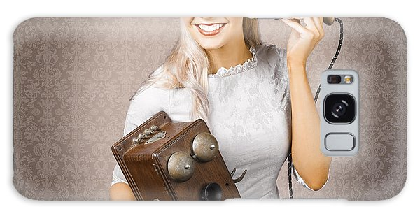 Vivacious Galaxy Case - Smiling Vintage Woman Hearing Good News On Phone by Jorgo Photography - Wall Art Gallery