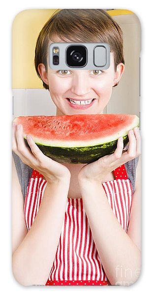 Smiling Young Woman Eating Fresh Fruit Watermelon Galaxy Case by Jorgo Photography - Wall Art Gallery