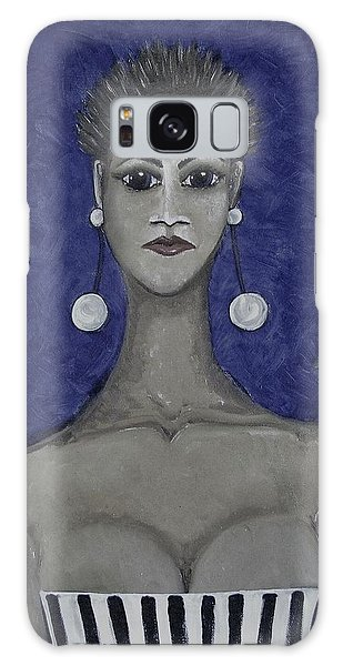 Galaxy Case - Smoking Woman 3 - Blue by Joan Stratton