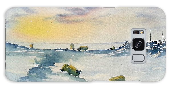 Snow And Sheep On The Moors Galaxy Case